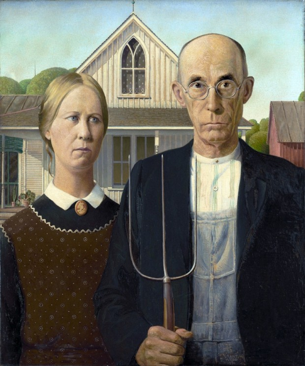 American Gothic by Grant Wood 1930; Wiki Media Commons.
