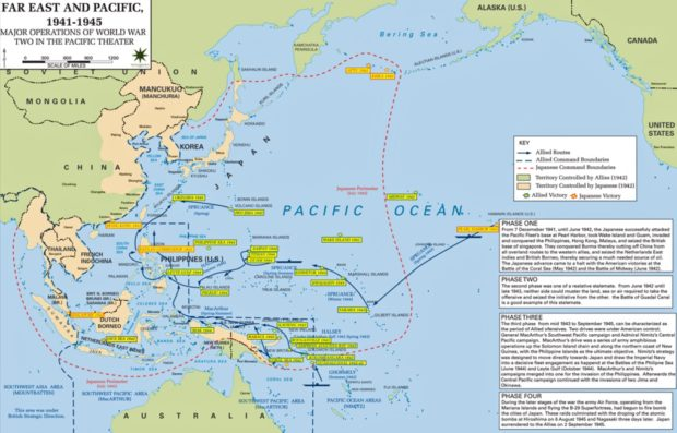 Midway island, Wake Island, the Philippines, and Guam, all ...