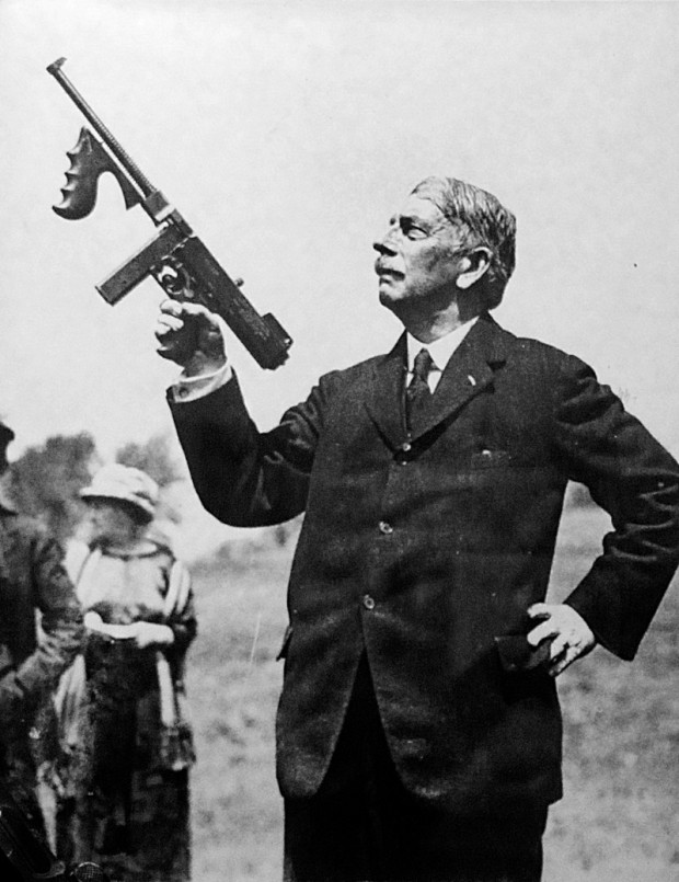 Thompson and his gun; Wikimedia Commons