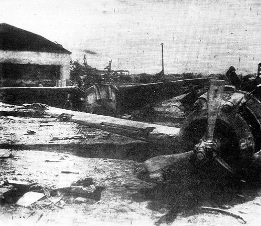 Clark Air base - aftermath of Japanese Attack Dec. 8, 1941; Wikimedia Commons
