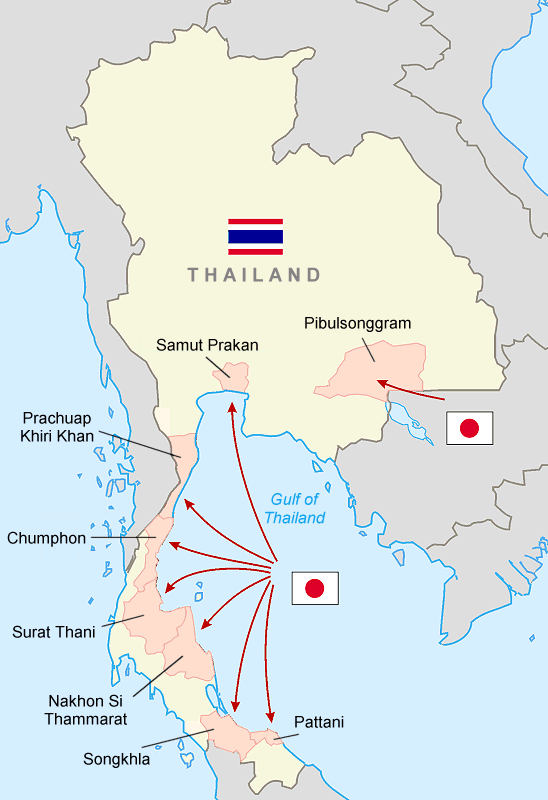Japanese Invasion of Thailand 12/8/41; Wikimedia Commons