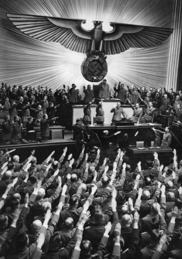 Hitler at Reichstag Berlin 1941; Wikimedia Commons