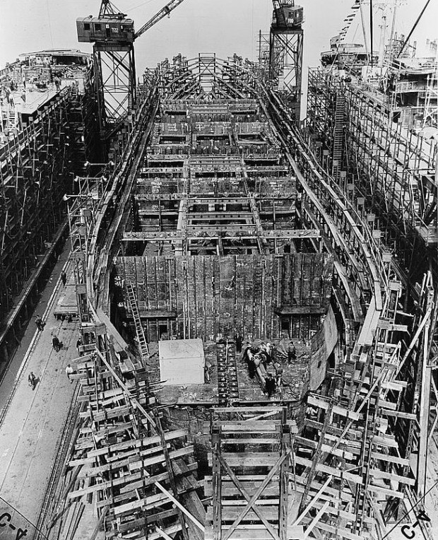 Liberty ship construction; Wikimedia Commons