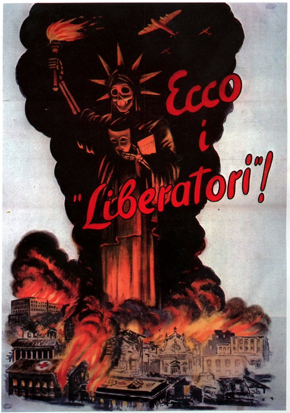 Here are the liberators - WWII Italian poster; Wikimedia Commons