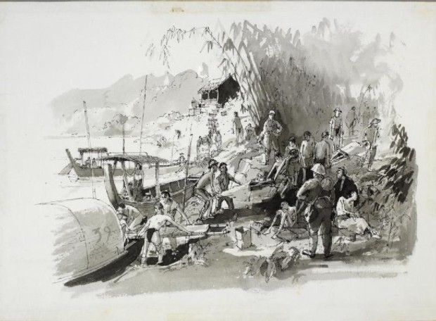 Unloading the sick & dead from up country; Wikimedia Commons