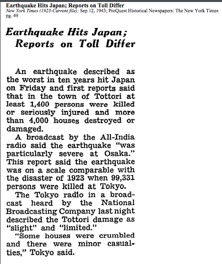 Tottori earthquake NY Times copy