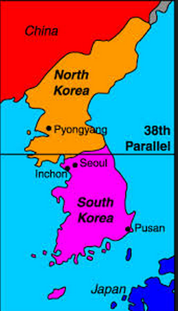 The division of Korea between North and South Korea occurred in 1945