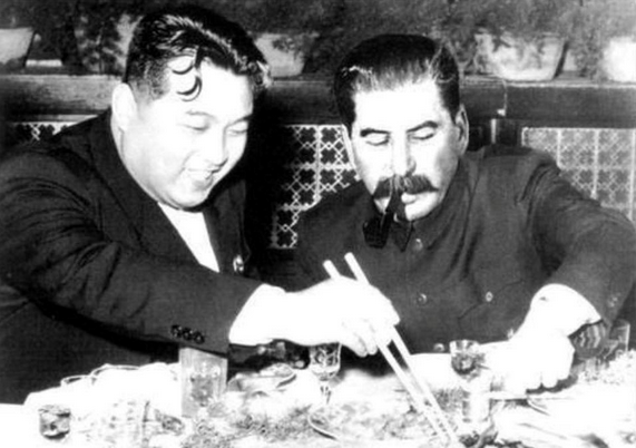 Kim Il Sung and Joseph Stalin